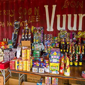 A local stand selling fireworks the week before New Year's on Bo